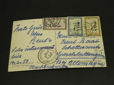 Morocco 1958 Marrakech picture postcard to Germany *23222