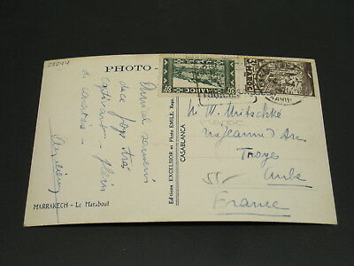 Morocco 1940s? Marrakech picture postcard to France *23244
