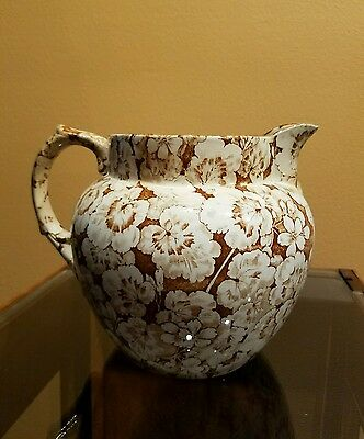 "Rare 1905-1910 Buffalo Pottery Geranium Pitcher In Brown/white-6"" Semi-Vitreous"