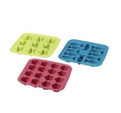3x IKEA Plastis Silicone Shaped Rubber Ice Cube Tray Mould.