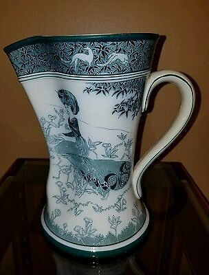"Antique 1907 Buffalo Pottery Gloriana 9"" Pitcher in Blue and White - Art Nouveau"