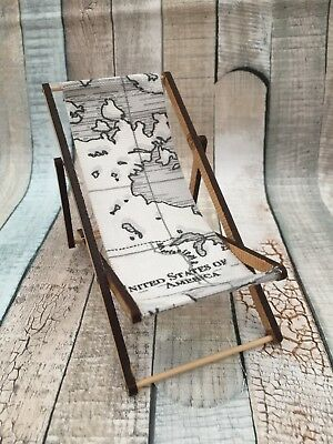 Miniature deck with chair grey world map fabric vintage seaside miniature deck with chair grey world map fabric vintage seaside travel theme gumiabroncs Gallery