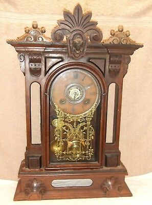 "Huge GILBERT ""AMPHION"" parlor clock w/ Large dial - running & VERY RESTOREABLE"