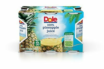 Dole 100% Juice, Pineapple, 6 Ounce Cans (Pack of 48) 6 Ounce (Pack of 48)