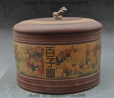 Old Chinese yixing zisha pottery carved Hundred children Figure pot Jar Crock