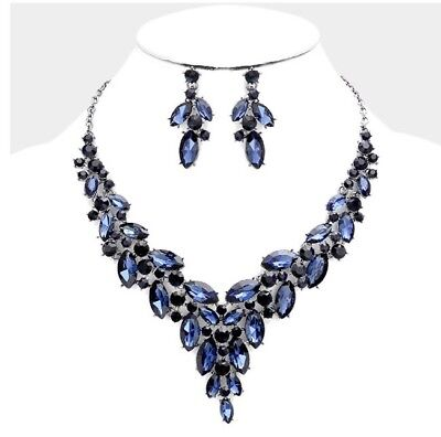 Navy Blue Rhinestone Silver Crystal Formal Pageant Necklace Jewelry Set Earring