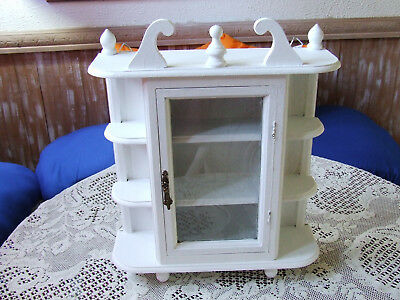 White Vintage Wood Curio Cabinet Wall Hanging W/glass Door,shabby Chic,16Tx13W,3