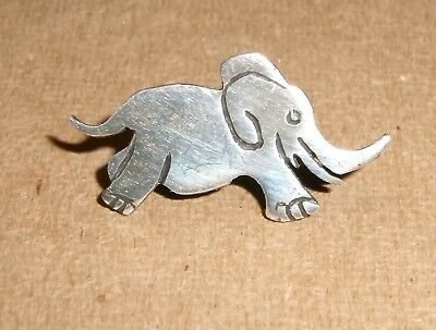 Sterling Silver ELEPHANT Pin Tie Lapel Lucky Good Luck GOP Republican Vintage