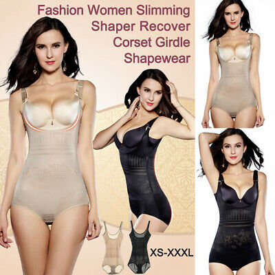 UK Women Bodysuit Control Waist Shaper Full Body Shaper Strap Skinny Underwear