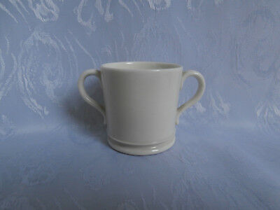 ROYAL WORCESTER EDWARDIAN c1905 ANTIQUE WHITE CHINA DOUBLE HANDLED MINIATURE CUP