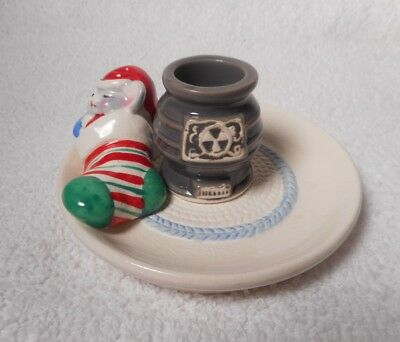 Vintage1983  MOUSE Sleeping In A Stocking By A Pot Belly Stove Candle Holder
