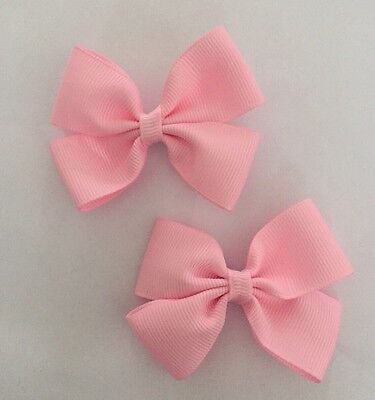 2 Packs Of Baby Pink Big Bow Hair Clips/aligator Clip/schools Uniform