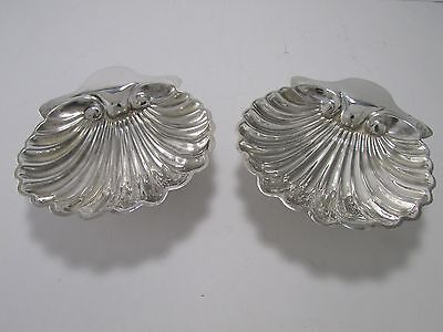 1895 LONDON ENGLISH STERLING SILVER SCALLOP SHELL SALTS/ BUTTER DISH 125.5 grams