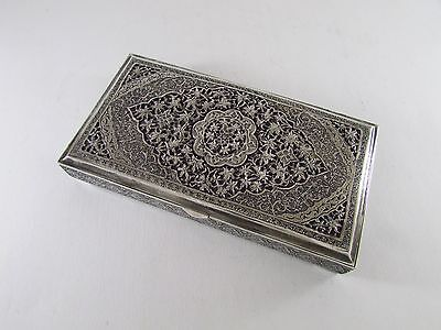 Antique Isfahan Persian Silver Box 395 Grams Lion & Sword 84