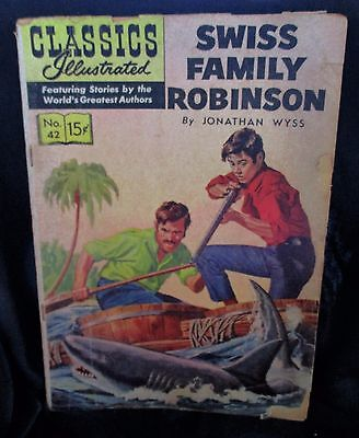 """Swiss  Family Robinson""  #42 (1947) CLASSIC ILLUSTRATED COMIC BOOK"