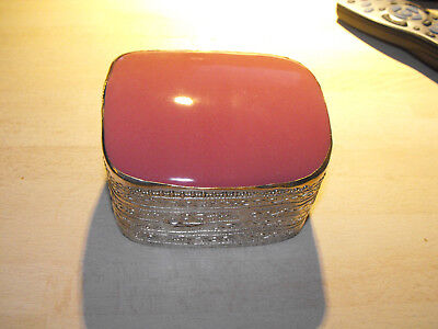 Trinket or jewellery box with pick enamel or glass top
