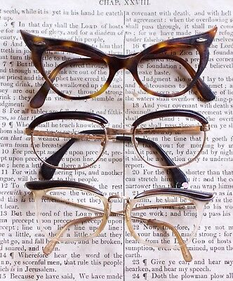 vintage 1950'sthree pairs women spectacles ex display in need of tlc