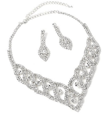Silver Crystal Rhinestone Earrings & Braids Accented Necklace Jewelry set