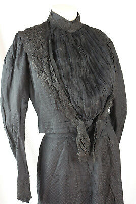 Antique Victorian Mourning Dress 2 PC Black silk with Lace Collar As Is