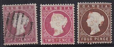 Gambia 1880 Qv Cameo 1D 2D And 4D Wmk Crown Cc Upright Used