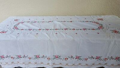 Crochet Lace Cotton Blend Tablecloth Hand Embroidered Floral Rose 66 Round