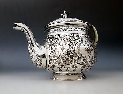 Fine Antique Middle Eastern Persian Islamic Hand Chased Solid SIlver Teapot 519g