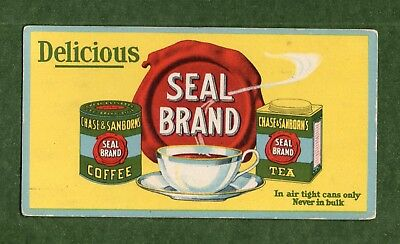 "CHASE & SANBORN'S SEAL BRAND COFFEE & TEA Unused Blotter - 3¼""x6⅛"", Exc Cond"