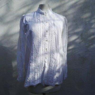 Blouse 1980 Vintage White Beaded high collar Indian cotton