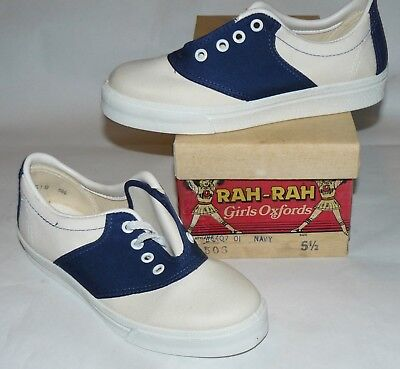 50s 60s vtg NOS Rah-Rah Cheerleader Shoes school oxford saddle canvas sneakers 6
