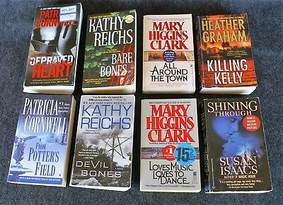 Mystery/Thriller Book lot of 8 by Women: Cornwell, Reichs, Clark, Graham, Isaacs
