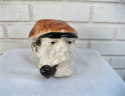 Antique Majolica Man with Hat and Pipe Antique Art Pottery Humidor Tobacco Jar