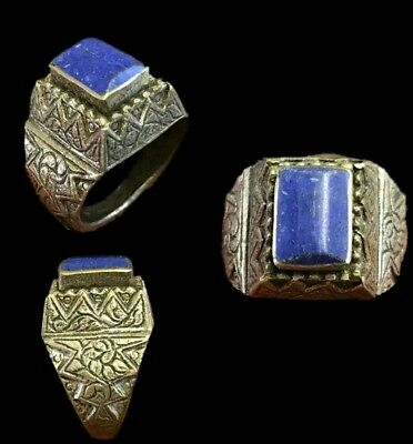 Top Quality Post Medieval Silver Ring With Blue Gemstone