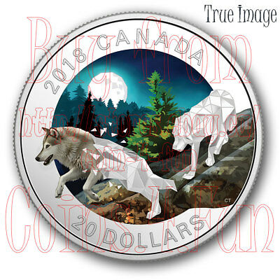 2018 - Grey Wolves Geometric Fauna #1 - 1 OZ $20 Pure Silver Proof Coin - Canada