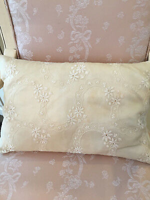 Antique Linen Embroidered Down filled Boudoir  Pillow