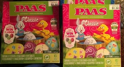 Lot Of 2 Paas Egg Decorating Kit Classic 121 Piece