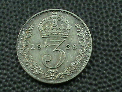 GREAT BRITAIN   3 Pence   1926  SILVER    $ 2.99 maximum shipping in USA