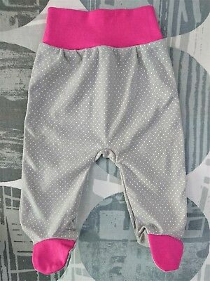 Baby GIRLS* GREY SPOTTED Trousers with feet *100% Cotton  **Newborn/ 0-3 Months