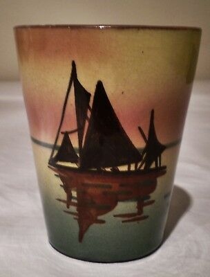 Aller Vale Pottery Fishing Boats Mug With Motto 'still Waters Run Deep'