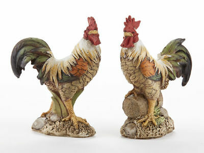 NEW!! Vintage Style Country Farmhouse Set Of 2 Resin Rooster Shelf  Figurines