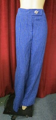 70's Retro Style Original By Covers Blue/White Stripe 100% Linen Pants