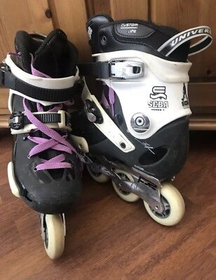 Seba Black And White Inline Skates size 6.5 , pads and cones