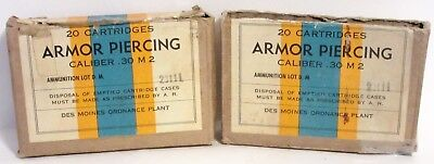 2 ~ 20 Cartridge Armour Piercing .30 Caliber M 2 Empty Shell Boxes~Des Moines Pl