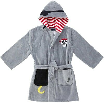 Boys Beach Swim Cover Up Size Small 5 6 Gray Pirate Hoodie Terry Velour NWT