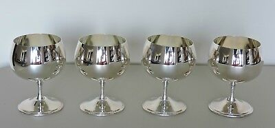"""Set of 4 Silver Plated Wine Goblets King's Plate E.P. Brass 4"""" Tall"""