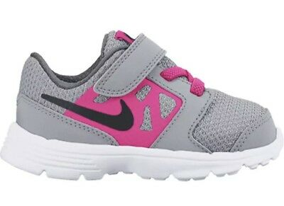 Girl's Nike Downshifter 6 (TD) Toddler shoes Grey/Pink 685164 007 Size 8c