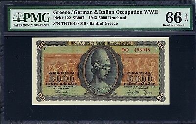 Greece / Occupation WWII 1943 P-122 PMG Gem UNC 66 EPQ 5000 Drachmai