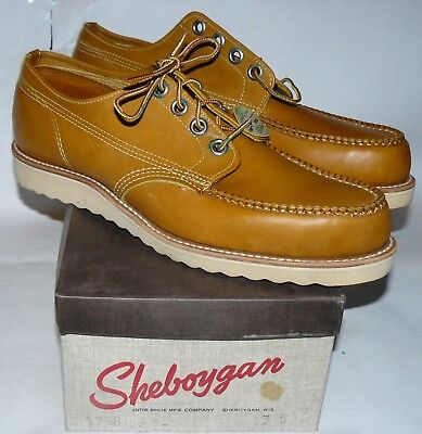 50s 60s vtg NOS Sheboygan Work Shoes leather crepe sole denim workwear Men's 13