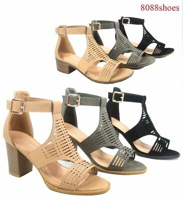 Women's Buckle Open Toe Ankle Strap Low High Heel Sandal Shoes Size 5 - 10 NEW