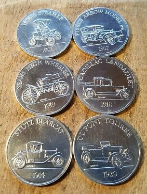 Vintage 1968 - Lot of Six SUNOCO Antique Car Coin Series