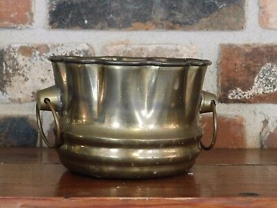 Antique/VTG Solid Brass Hand Uniquely Crafted Bowl Ringed Moving Handles India